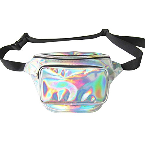 Monique Women Men Shiny Hologram Fanny Pack Rave Festival Waist Bag Running Hiking Chest Pack Purse Phone Pouch 541 Silver from Monique