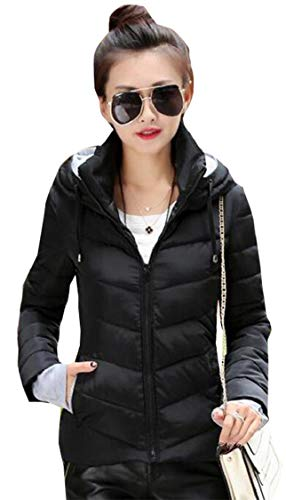 Gocgt Womens Warm Without Weight Women's Ultralight Down Jacket with Hood Black