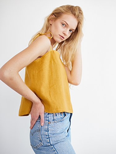 SOPHIE Linen Tie Strap Tank Top in Mustard Sleeveless Thin Strap Blouse Summer by Love and Confuse