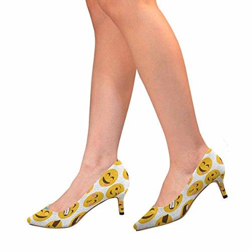 Interestprint Mujeres Bajo Gatito Talón Punta Estrecha Vestido Bomba Zapatos Emoji Patrón Multi 1