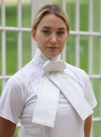 Shires Ready Tie Brocade Riding Stock Tie, White - Medium
