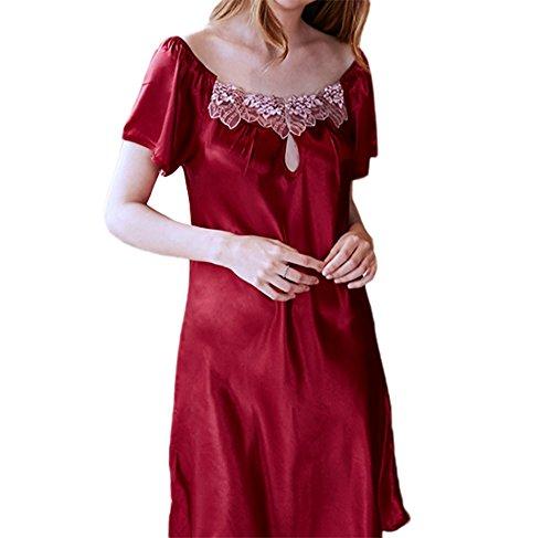 sexy estivo casa Rosso notte davanti Abbigliamento gonna da pigiama camicia A per per da Vino la donna Huateng ROAc1wqRx