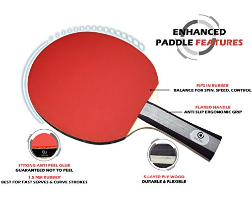 Osleek Ping Pong Paddle Set - 4 Rackets 8 Balls Professional/Recreational Table Tennis Bundle | Durable 5 Layer Blade, Performance Rubber for Control, Spin & Speed | Packed in Protective Travel Case by Osleek (Image #3)
