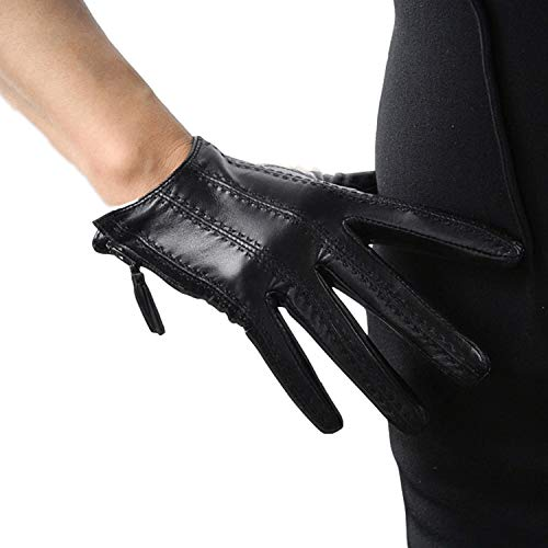 DooWay Short Black Touchscreen Real Leather Gloves, Imported Goatskin Leather Tassel Zipper Unique Pop Finger Gloves, size S (Women Leather For Gloves Short)