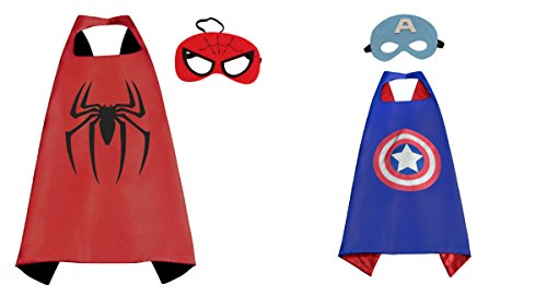 Captain America 2 Mask (Athena Dress Up - Captain America & Spiderman - 2 Capes, 2 Masks Gift Box Included)