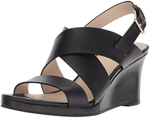 Cole Haan Women's Penelope II Wedge Sandal, Black Leather, 7 B US by Cole Haan