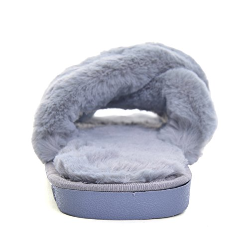 Cher Temps Femmes Fausse Fourrure Pantoufle Ouverte Toe Plate-forme Glisser Glisser Sur La Maison Flip Flop Gris
