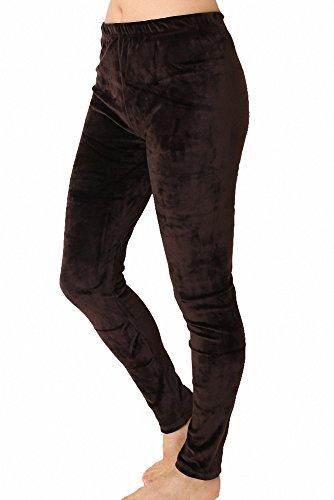 Velour Pants Brown (Shabon Fashion Women's Super Soft Simple Long Velour Pants (M/L, Dark BROWN-L36))
