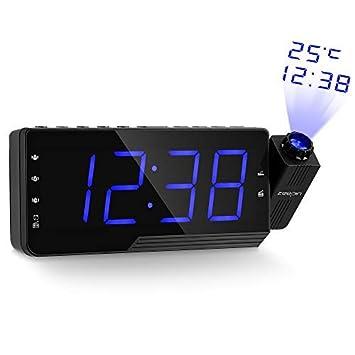 zeepin Proyección del Despertador de la Radio, Despertador Techo del proyector con Radio FM, Temperatura del Tiempo de proyección del Reloj con Pantalla LED ...