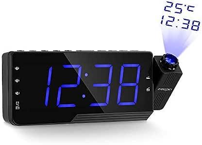 ZEEPIN Proyección del Despertador de la Radio, Despertador Techo ...