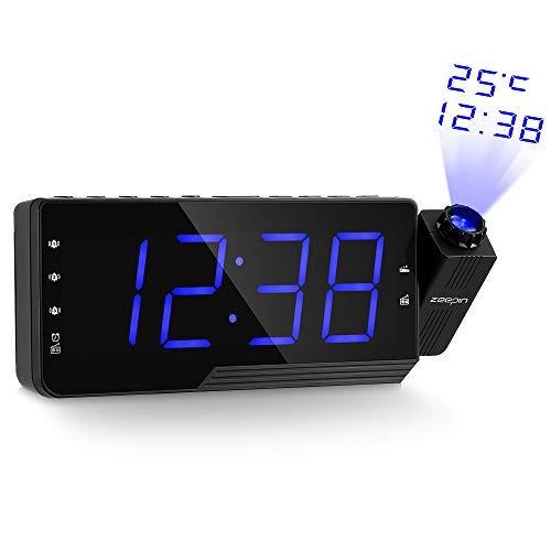 zeepin Proyección del Despertador de la Radio, Despertador Techo del proyector con Radio FM,