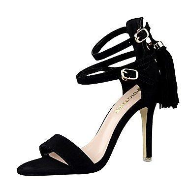 LvYuan-ggx Femme Chaussures à Talons Polyuréthane Eté Talon Aiguille Noir Rouge Rose 7,5 à 9,5 cm black
