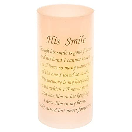 His Smile Flickering Memorial Led Candle Amazoncouk Kitchen Home