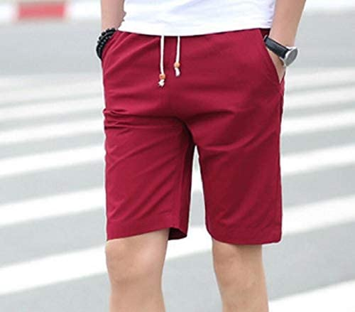 Etecredpow Men Elastic Waist Thin Multi-Pocket Short Pants Summer Capri Pants