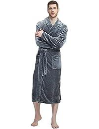 Mens Fleece Robe Plush Collar Shawl Bathrobe d992c0e61