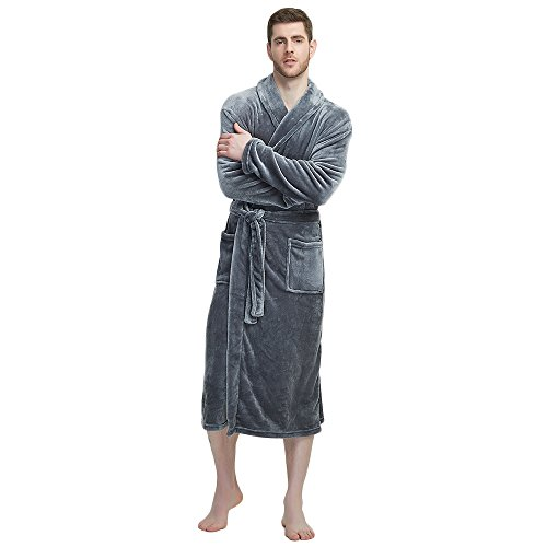 U2SKIIN Mens Fleece Robe Plush Collar Shawl Bathrobe(Grey,L/XL) ()
