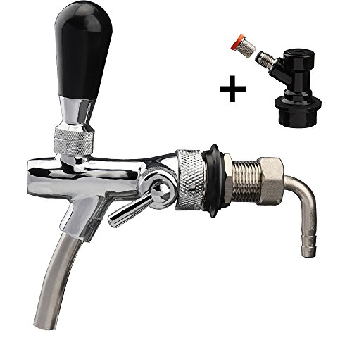 OneBom 2 IN 1 Beer Tap, with Flow Control, Black Handle Lever & Liquid Ball Lock (Lever One Tap)