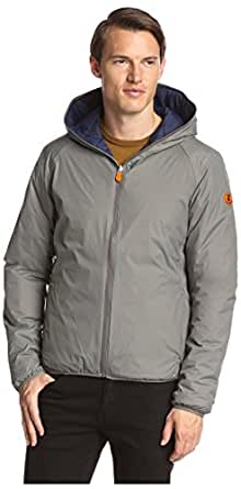 Save the Duck Men's Reversible Hoodie Jacket, Stone Grey/Navy Blue, L
