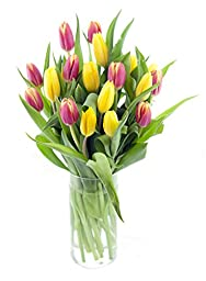 Orange Slice 20 Tulips Bouquet for Mother\'s Day, With Vase