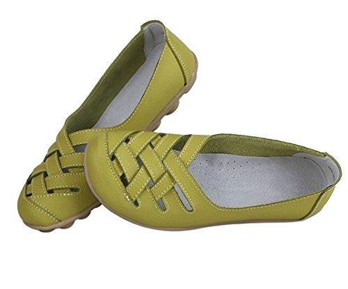 Wenhong Kvinners Damene Tilfeldige Kutt Ut Skinn Loafers Flate Sko Moccasin  Sandaler Grønne