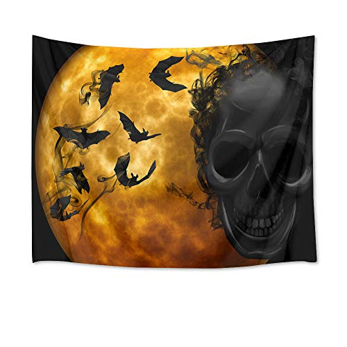 LB Halloween Full Moon Tapestry Wall Hanging Sugar Skull Halloween Decorations 3D Tapestry for Bedroom Living Room Dorm Wall Decor,60 x 40 inches