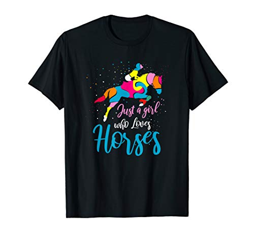 Show Jumping Horse English Riding Art Color Blocked Graphic T-Shirt
