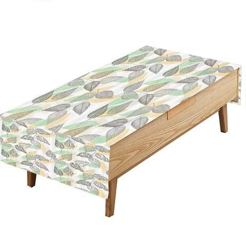 PINAFORE Fitted Polyester Tablecloth Branches Leaves Stripes LinesStylized Kitchen W70 x L120 INCH ()