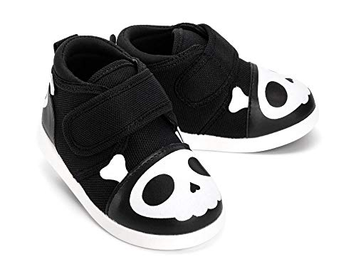 - ikiki Skull Squeaky Shoes for Toddlers w/Adjustable Squeaker, Black Girl or Boy Shoes (Size 13, Captain Zuga)