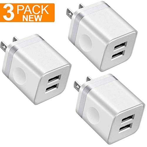 USB Charger, 2.1A/5V Dual 2-Port USB Plug Charger Wall Plug Power Adapter Fast Charging Cube Compatible with Apple iPhone, iPad, Samsung Galaxy, Note, HTC, LG & More (White) 3-Pack