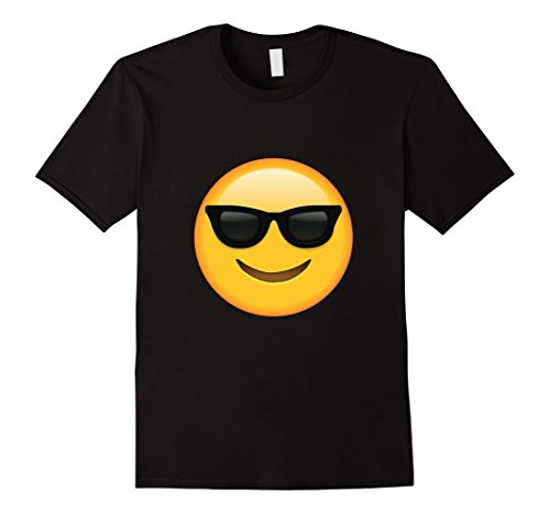 Men's Glass Emoji Face T-shirt Emoticon Glasses Face Smile Tshirt. Large Black