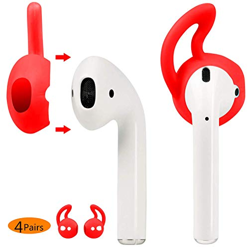 Price comparison product image MRPLUM Ear Hooks and Covers Accessories Compatible with Earphone, Earbuds, EarPods(Red-4 Pairs)