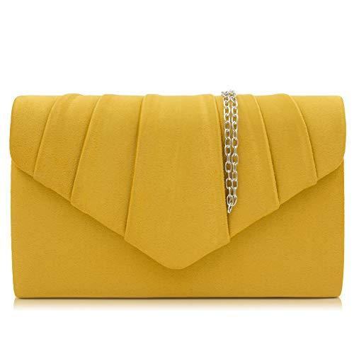 Milisente Women Evening Bag Velvet Pleated Clutch Purse Envelope Clutches (Banana Yellow)