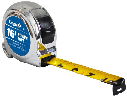 Empire Level 616 Chrome Case Power Tape Measure with Slide Lock, 16-Feet by - Measures Slide