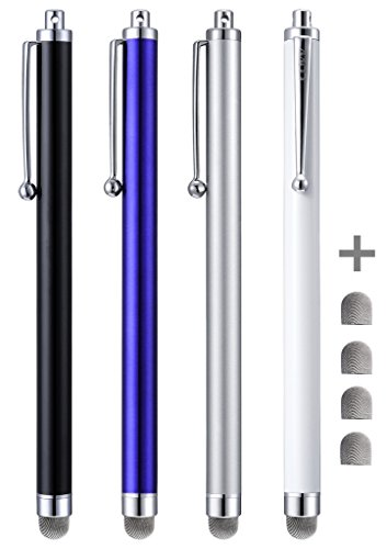 Stylus Pens, CCIVV 4 Pcs 5.6 Inches Mesh Tipped Stylus for Touch Screens, iPad, iPhone, Kindle Fire + 4 Extra Replaceable Hybrid Fiber Tips (White, Black, Silver, Blue) (Kindle Stylus With A Point)