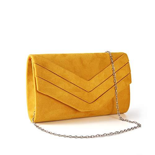 Gesu Wedding Party Velvet Envelope Clutch Evening Purses for Women Formal. (Banana Yellow)