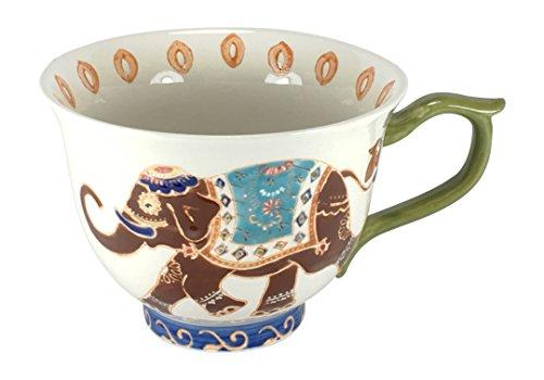 Dutch Wax Elephant Hand-painted Jumbo Mug 14 Oz - Ceramic - Painted Elephant