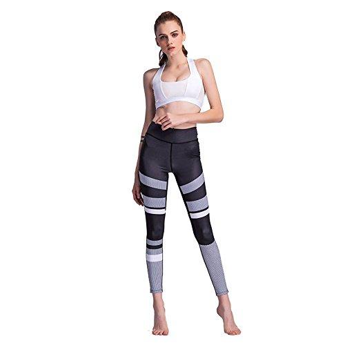 SODIAL Pantalon de yoga a taille haute pour les Femmes Pantalon de yoga dimpression 3D en plein air Leggings de Pantalons de fitness Pantalons de Yoga (NOIR, S / nous ~ 4 / UK ~ 8)