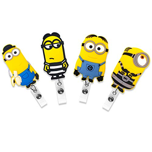 Minions Characters Names (Finex Set of 4 The Minions Badge ID Clip Reel Retractable Holder Office Work Nurse Name Badge Tag Clip On Card Holders Cute - 30 inch Cord)