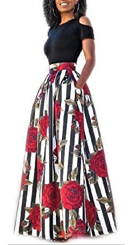 Alion Des Femmes De L'épaule Froide Deux Poches Pièce Imprimé Floral Jupes Longues Robe De Soirée 1