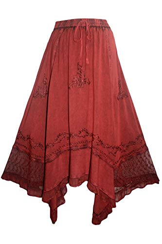 (Agan Traders 186027 SK Bohemian Medieval Embroidered Uneven Hem Skirt [S/M; B Red])