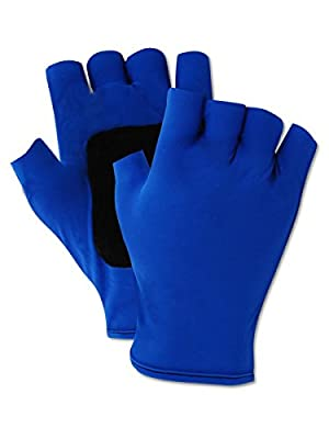 Magid ATV202L Fingerless Gel Palm Padded Impact Glove, Large, Blue (One Pair)