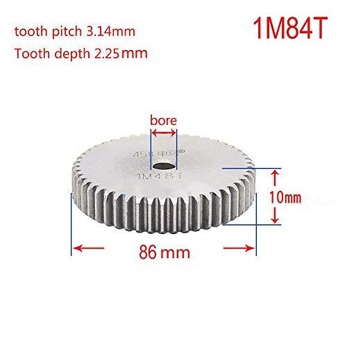 1 Mod 84T Spur Gear 45# Steel Motor Pinion Gear Thickness 10mm x1Pcs (1Mod 84T)
