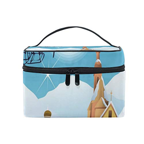 (Travel Cosmetic Bag Animated Christmas Wallpaper Toiletry Makeup Bag Pouch Tote Case Organizer Storage For Women Girls)