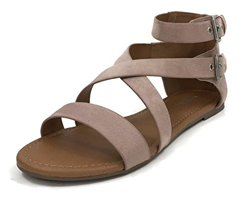 Over The Toe Cross Strap with Back Zipper Flat Sandal, Mauve, 7