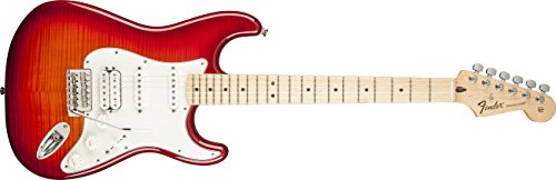 Fender Standard Stratocaster Electric Guitar - HSS - Flame Maple Top - Maple Fingerboard, Aged Cherry - Strat Hss Fender