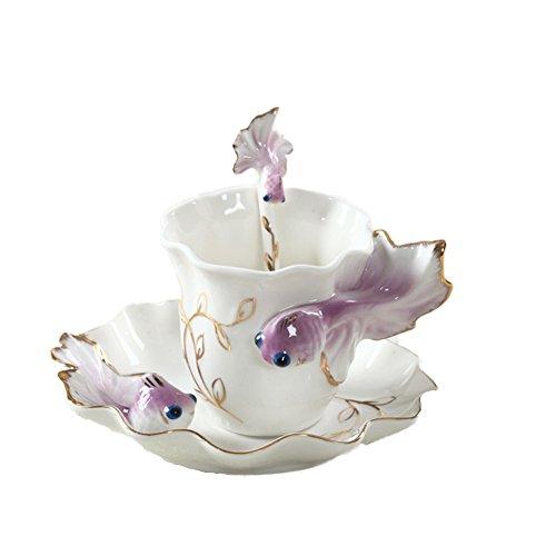 (ZaH 3D Goldfish Coffee Mugs Animal Rainbow Ceramic Mug Milk Teacup Afternoon Tea Cup and Saucer Set with Spoon, Purple)