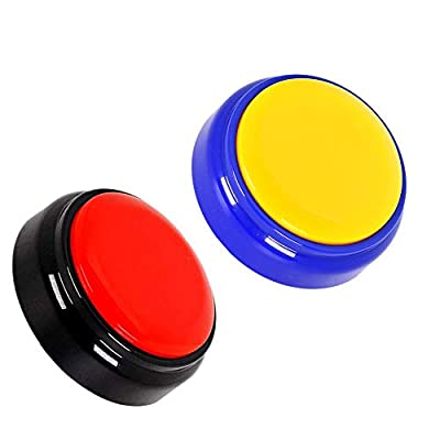 Neutral Record Talking Button- Answer Buzzers-Funny Gag Gifts- Record & Playback Your Own Message -Set of 2 (red+Yellow): Toys & Games