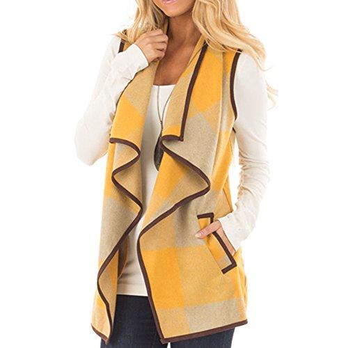 Mujer Chaleco de Cuadros, Primavera y Otoño Sin Cuello Mangas Chaqueta de Pelos Vest Pelo Sintetico Chaleco Ajustado Coat Jacket Outwear Cardigan Ropa de Abrigo Chaquetones Mujer Amarillo