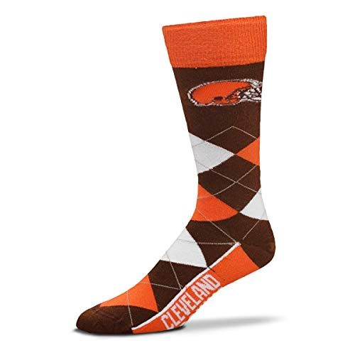 For Bare Feet - NFL Argyle Lineup Men's Crew Socks - One Size Fits Most (Cleveland Browns) ()