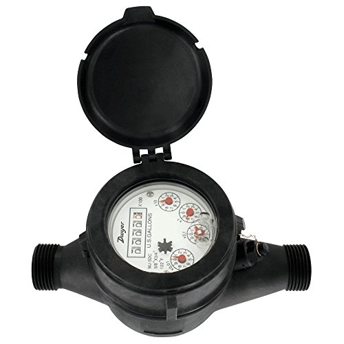 Dwyer Multi-Jet Plastic Hot Water Meter, Lead Free, Economical, WPT-A-C-02, 5/8